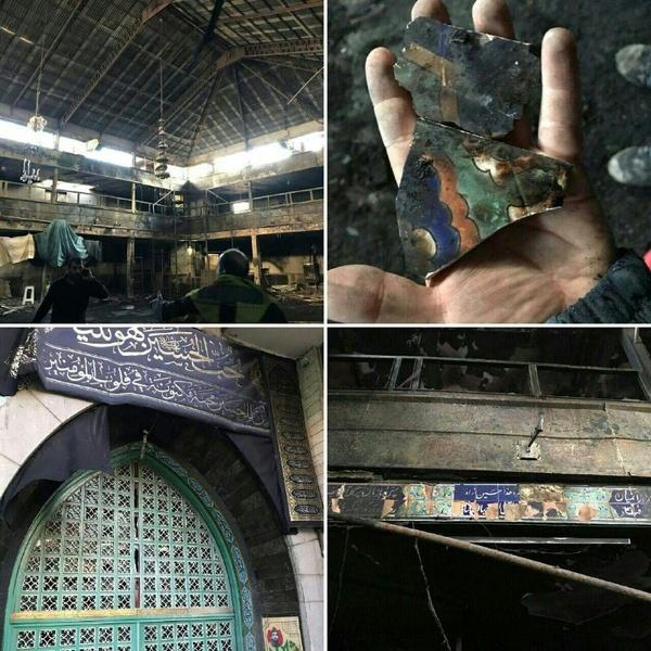 تخریب تکیه درکه در حمله دو نفر با مواد آتش زا