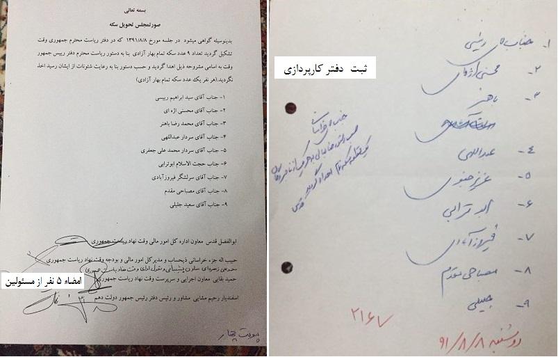 انتشار سند اهدای سکه به رئیسی،فرمانده سپاه،جلیلی و چند مقام دیگر
